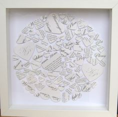 1st Wedding Anniversary Frame made out of invitations/save the date cards £40