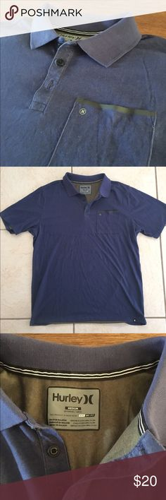 Hurley Dri-Fit Polo Shirt Blue, Nike Dri-Fit technology Hurley polo shirt. Size Medium. Without tags, never worn. Nike Dri-Fit wicks sweat away to help you keep dry and comfortable. Patch chest pocket with reflective Hurley logo and rubberized trim. Short sleeve. 3 buttons at neck. 60% cotton/40% polyester. Hurley Shirts Polos