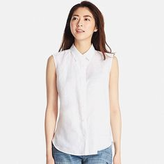 WOMEN PREMIUM LINEN SLEEVELESS SHIRT, WHITE, large