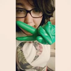 Cleaning      #cleaning #selfie #green #gloves #ofmice&men