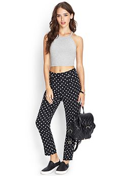 Pleated Polka Dot Joggers | FOREVER21 - 2000124433