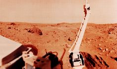 On March 4, 1977, NASA released this image of trench marks in the Martian soil made by the Viking 1 lander sampling arm. | Photo credit: NASA