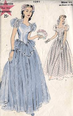 1940s Misses Bridesmaid Gown Prom Gown Evening Gown
