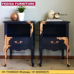 I've officially joined the ✨✨copper craze✨✨ SO obsessed with this gorgeous copper leaf paired with navy blue! These glamorous side tables…. , I've officially joined the ✨✨copper craze✨✨ SO obsessed with this gorg. Black Painted Furniture, Refurbished Furniture, Paint Furniture, Upcycled Furniture, Furniture Projects, Furniture Makeover, Bedroom Furniture, Furniture Design, Gold Leaf Furniture