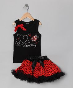 Black Love Bug Tank & Pettiskirt by So Girly & Twirly - I know a little girl who would love this