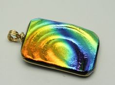 textured dichroic pendant - sorry this one sold right away, but I love the colors in it.