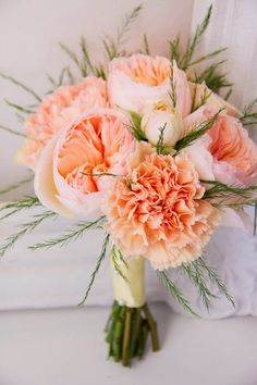 Wedding Flower Bouquet Inspiration for Peach, White, and Grey Color Scheme | lucismorsels.com