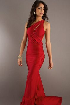 Shop Elegant Prom Dresses 2013 Red Sheath Column One Shoulder Chiffon Sweep Brush Train Online affordable for each occasion.
