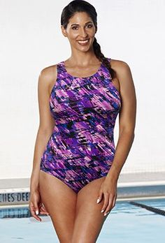 2b9520d3fe Chlorine Resistant - Aquabelle Earthquake High-Neck Swimsuit Swimsuits For  All, One Piece Swimwear