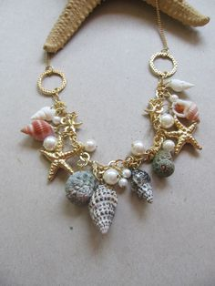 Golden sea statement necklace Love this upcycled repurposed necklace