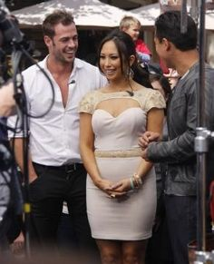 "Cheryl Burke wearing the ABYSS BY ABBY's ""Rules"" dress in gold. She wore the dress on April 11, 2012 to the VH1 Lives Red Carpet"