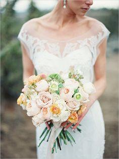 soft peach, pink and green romantic wedding bouquet #erichmcveyworkshop #bouquet #peach  http://www.weddingchicks.com/2013/11/11/elegant-bridal-looks/