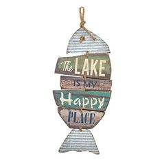 Barnyard Designs The Lake is My Happy Place Wooden Sign Vintage Country Decor 20 - Pic Vevo Fish Wall Decor, Wooden Wall Decor, Wooden Walls, Vintage Country, Country Decor, Country Charm, Country Homes, Vintage Farmhouse, Farmhouse Decor