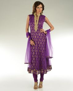 Tyrian-Purple Kalidar-Suit with zari- embroidered neck