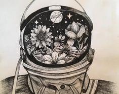Space Drawings, Ink Pen Drawings, Art Drawings Sketches, Tattoo Sketches, Tattoo Drawings, Astronaut Drawing, Astronaut Tattoo, 4 Tattoo, Time Tattoos