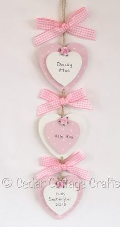 Baby Keepsake Crafts | beautiful cascading double hearts personalised with babys name ...