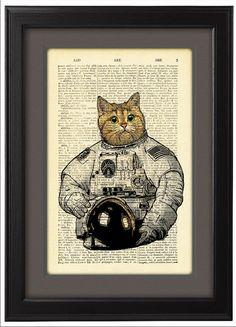 Cat astronaut, Art Print Poster, Space, Cat space suit ,DICTIONARY Print, Book Pages, Home Decor, DORM decor, Wall Art decor, CODE/050