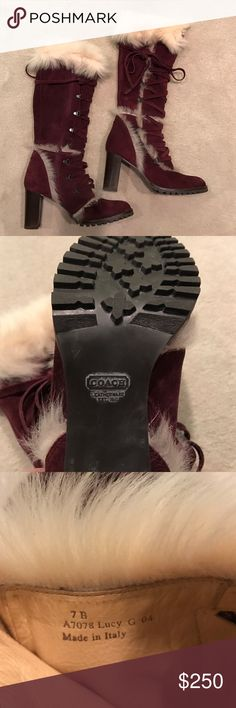 """Coach """"Lucy"""" Boots Gorgeous Coach maroon suede boots with fur running along the top and scattered throughout the shaft and top of boot.  Only a limited amount were made. These boots are in excellent condition. Hardly worn. The heel is 3.5"""" high and total height of boot is 17"""". These are a size 7 and run true to size. Coach Shoes Heeled Boots"""
