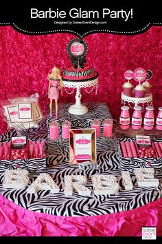 """Barbie Party - styled by Soiree-EventDesign.com featuring our """"Safari-licious"""" Zebra Glam printables"""
