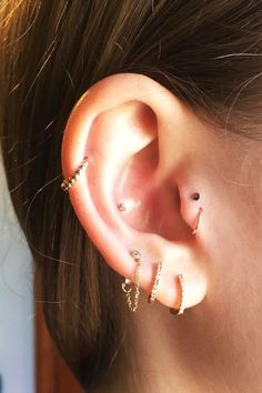 Ear piercing inspiration..Double tragus, triple lobe, inner conch and helix.
