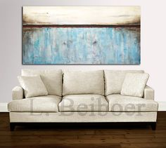 """Painting original 72"""" large abstract art 6ft huge white blue modern abstract oil painting by L.Beiboer MADE-TO-ORDER free shipping"""