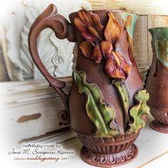 Creole Flame Louisiana Iris Coffee Mug ( The Creole Courtyard Collection ) Pottery Mugs, Ceramic Pottery, Coffee Love, Coffee Mugs, Louisiana Iris, Cool Pins, Stoneware, Clay, Hand Painted