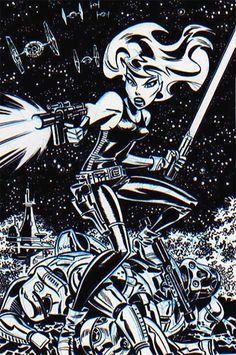 "cooketimm: "" Star Wars Day: May The Be With You Artwork by Bruce Timm "" Bruce Timm, Comic Book Artists, Comic Artist, Comic Books Art, Cartoon Drawings, Cartoon Art, Harley Quinn, Comic Frame, Jordi Bernet"