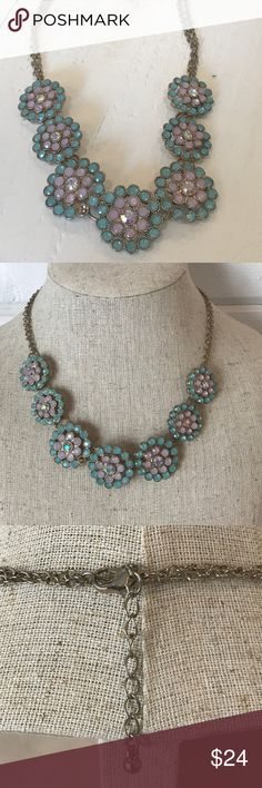 """Pastel Necklace Worn Once! Feminine 18.5"""" adjustable feminine necklace.  Adorned with Austrian crystals.  An adjustable 2"""" chin at one end.  Wear it casual or dressy! J. Crew Jewelry Necklaces"""