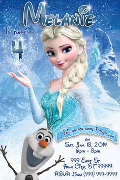 Frozen Elsa Olaf Anna Birthday Invitation Princess Digital Personalized Printable Disney Photo Custom