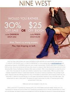 Pinned November 15th: 30% off sale items & more at #NineWest or online via promo code CHOOSE30 #TheCouponsApp