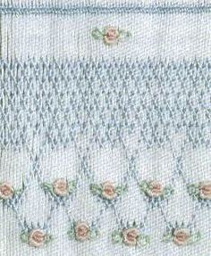Blue Smocking with Pink Roses