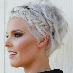 @moltobellahairstudio braided long pixie. Beautiful makeup
