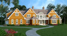 One of newest beach house plans - the Southampton I is 5789 square feet and has 6 bedrooms and 7.5 bath.
