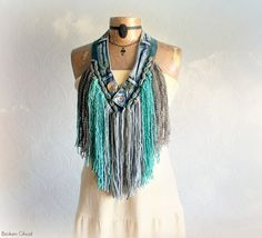 Mori Girl Scarf Tribal Style Fringed by BrokenGhostClothing