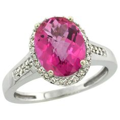 $140.15 USD, Sterling Silver Diamond Natural Pink Topaz Ring by WorldJewels