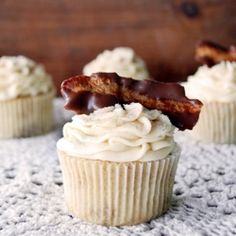 French toast cupcakes with maple buttercream and chocolate-dipped bacon.