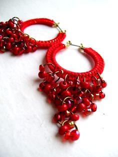 Aros de ganchillo con cuentas - Crocheted hoops with beads