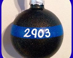 Thin Blue line Christmas Ornament thin red line by IdahoEmbroidery