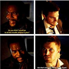 """#Arrow 5x01 """"Legacy"""" - """"That's because I think you're stupid"""" - #TobiasChurch #OliverQueen"""