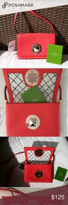 """❤️Kate Spade Red Leather Crossbody Gorgeous & authentic from Kate Spade """"Newbury Lane"""". Leather in red """"geranium"""" color. Golden details. Long strap is adjustable. Brand new with tag attached.  No trades kate spade Bags Crossbody Bags"""