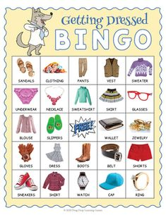 ESL Clothing Vocabulary BINGO - Names of Clothes BINGO by Drag Drop Learning Fun Classroom Activities, Educational Games For Kids, Bingo Games, Calling Cards, Activity Ideas, Vocabulary Words, Esl, How Are You Feeling, Names