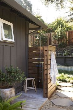 Outdoor Pool Shower, Outdoor Shower Enclosure, Outdoor Baths, Outdoor Bathrooms, Outdoor Kitchens, Outdoor Spaces, Outdoor Living, Outdoor Decor, Outdoor Fire