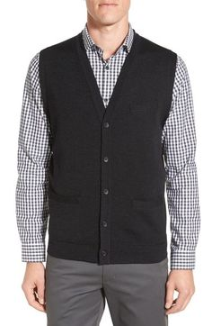 John W. Nordstrom V-Neck Wool Button Front Sweater Vest available at #Nordstrom