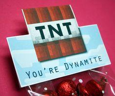 Minecraft Valentine Treat Bag Tags - DIY Printable Minecraft Valentine's Day Treat Bag Toppers / Cards
