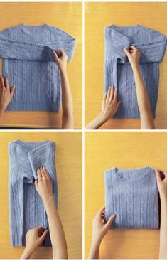 25 Tutorials To Teach You To Fold Things Like An Actual Adult Because I'll need all the possible space in the dorm! Here& 10 space-saving ways to fold your clothes that will make your life easier. Check out this post for simple folding tutorials and techn Diy Organisation, Wardrobe Organisation, Closet Organization, Clothing Organization, Organising, How To Fold Sweaters, Diy Kleidung Upcycling, Organiser Son Dressing, Organizar Closet
