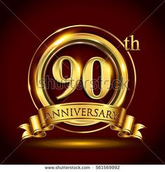 90th golden anniversary logo, ninety years birthday celebration with gold ring and golden ribbon.