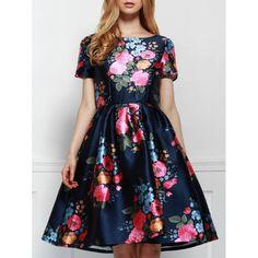 Wholesale Vintage Round Neck Short Sleeve Floral Print Women's Dress Only $15.23 Drop Shipping | TrendsGal.com