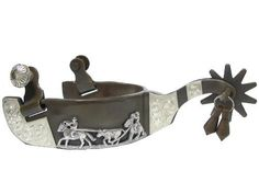 """Team Roping Mens Western Show Spurs with Jingle Bobs by AJ. $37.00. Shank: 2 ½"""" with jingle bobs. Rowels: 1 ½"""" 10pt.. Band: 1 ¼ """" brown steel with hand engraved silver overlay. Antique brown color western show spurs. Hand engraved silver overlay with team roping motif. Men's size, 3"""" opening, 3"""" deep."""