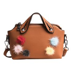 Multi Colors Faux Leather Pompoms Handbag Brown ($23) ❤ liked on Polyvore featuring bags, handbags, shoulder bags, brown shoulder bag, faux leather purses, shoulder handbags, shoulder bag purse and brown handbags