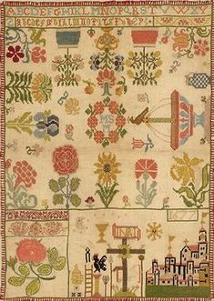 Silk Embroidered Spot Sampler German 1677